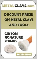 metal clay supplies.   Stamp logo on small disc shaped bead and attach to each piece at clasp