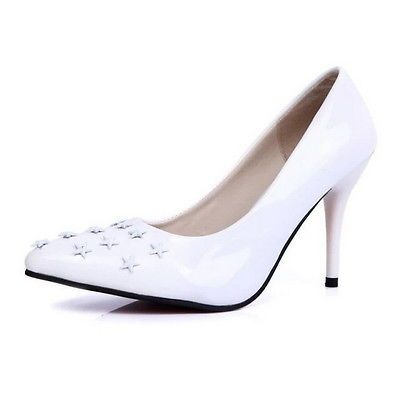Thboxs Women Stilettos Pumps High Heels Pointed Toe Shoes White US Size 7.5