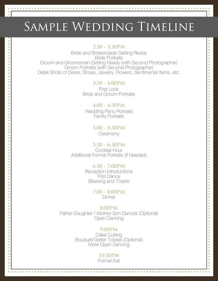 wedding day timeline for photographers - Google Search  good idea ........................