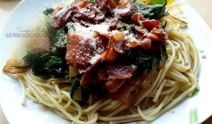 Snijbiet pasta met bacon!  Recept: http://www.serbolicious.nl/recept-pasta-met-snijbiet-bacon/