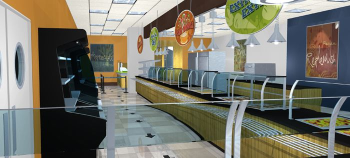 School cafeteria design interior design by kenneth cruz for Interior decorating school dallas