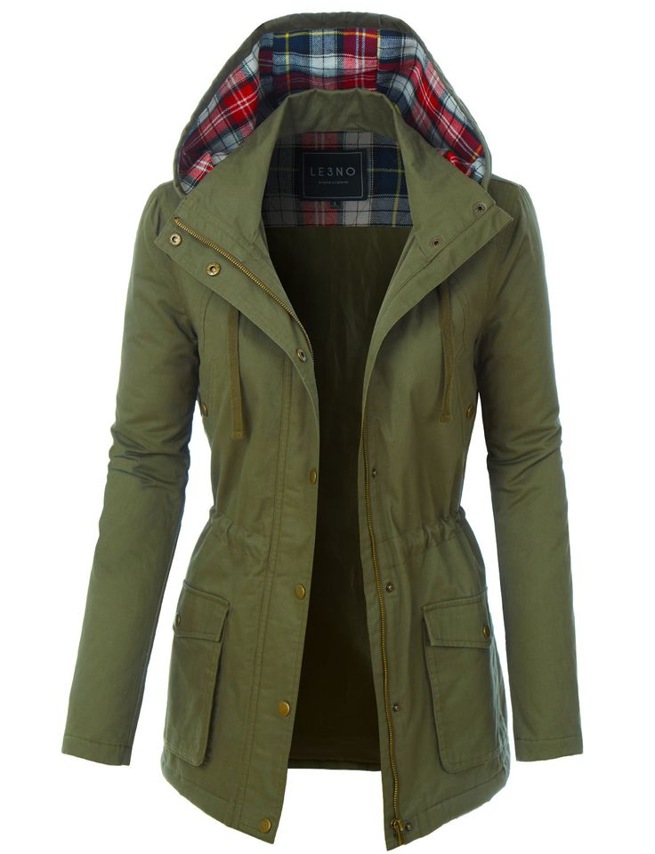 LE3NO Womens Fully Lined Anorak Parka Military Jacket with Plaid Hoodie