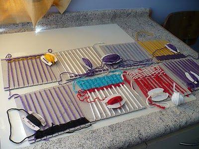 ideas de distintos telares que podemos hacer con carton y otras cosas