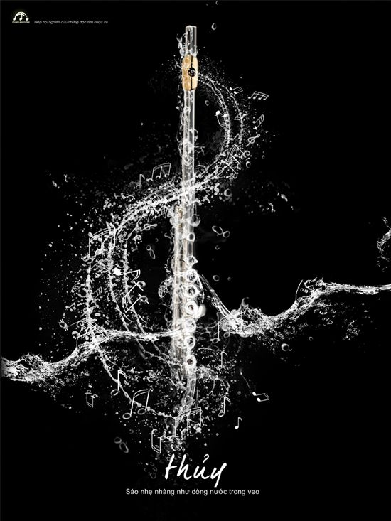 Music element of water with flute by chitoan2k of Vietnam on creattica #treble clef