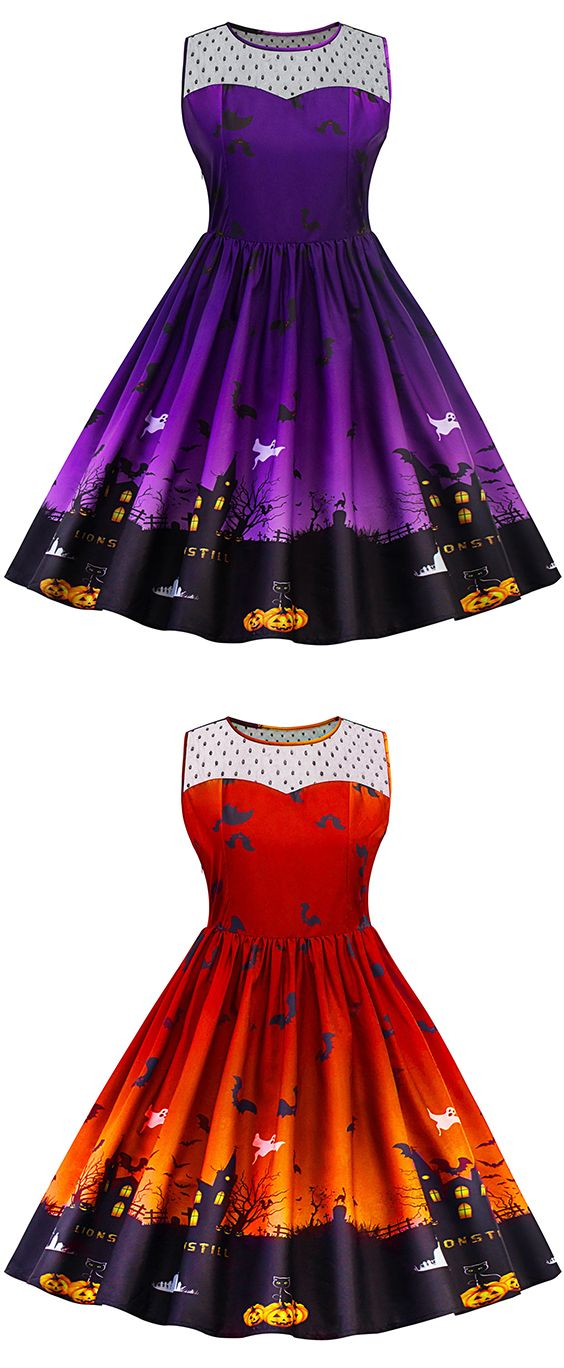 dress outfits 2017:Halloween Lace Panel Plus Size Dress