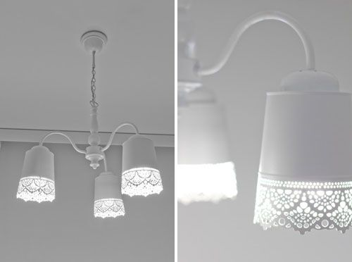 10 Illuminating Ikea Lighting Hacks - Brit & Co. - Living: Lace Lamp