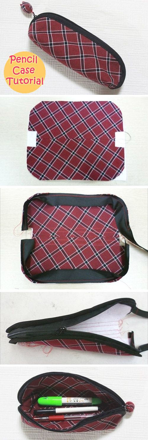 Zippered Pencil Bag DIY Photo Tutorial.  http://www.handmadiya.com/2016/05/zipper-pencil-case-tutorial.html