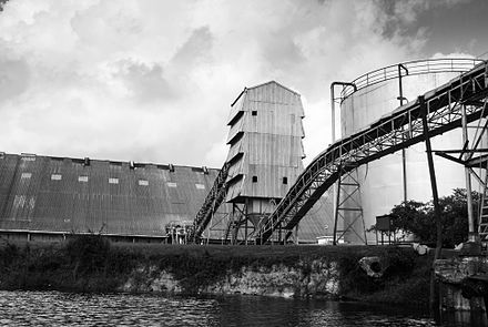 A sugar cane processing plant, Orange Walk Town, Belize. Sugar is one of Belize's top exports.