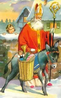"""St. Nicholas / Christmas Donkey   """"In France, Belgium, Luxembourg, and Switzerland, St. Nicholas leads a donkey laden with baskets full of treats and toys for children."""" Source (quote and image):  St. Nicholas Centre"""