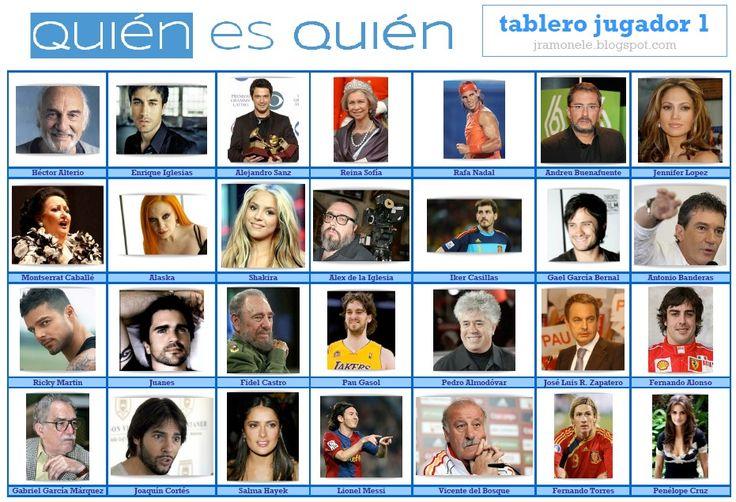 quien es quien y más juegos para practicar. espanolparainmigrantes.wordpress.com