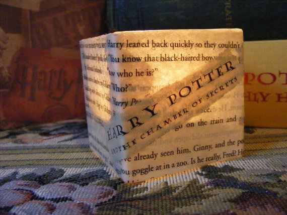 Harry Potter Book Light : Harry potter book page tea light or votive by