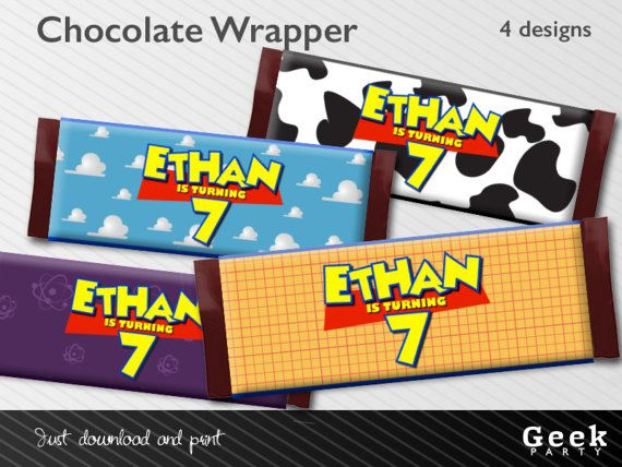 Toy Story Inspired Style Chocolate Wrapper  Digital or