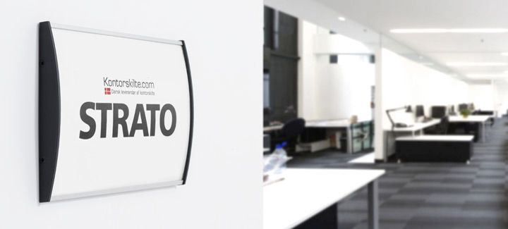 Strato Wall Signs / nameplates / wayfinding sign is designed by an architect. The sign is made of silver anodized aluminum. The front is in 1 mm anti-reflex acrylic which is easily removed with a vacuum cup.  For more information on different office signs, go to our website www.kontorskilte.com and discover our entire collection