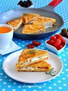 Kahvaltılık tavada yumurtalı tost