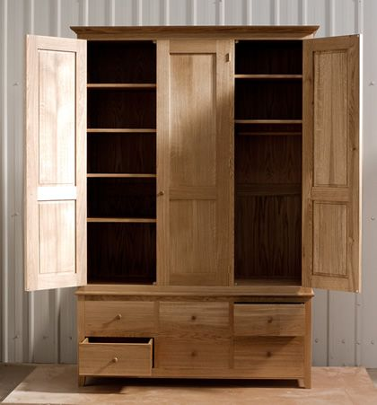 Oak Wardrobe With Solid Oak Carcass And Panels Oak Faced Birch Ply Shelves Dovetailed Oak