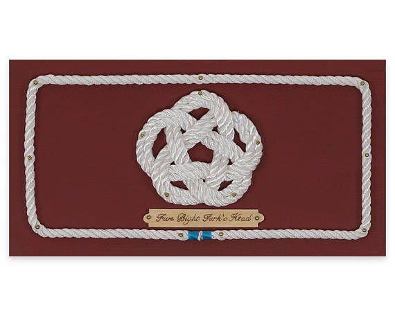Handcrafted Nautical Decor-Five Bright Turk's Head/knots/rope wall art/knot art/handmade gifts/baby nursery/home decor/knotboard/wood art