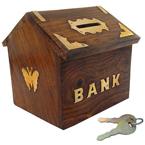 Itos365 handicrafted wooden money bank kids piggy coin box for Home money box