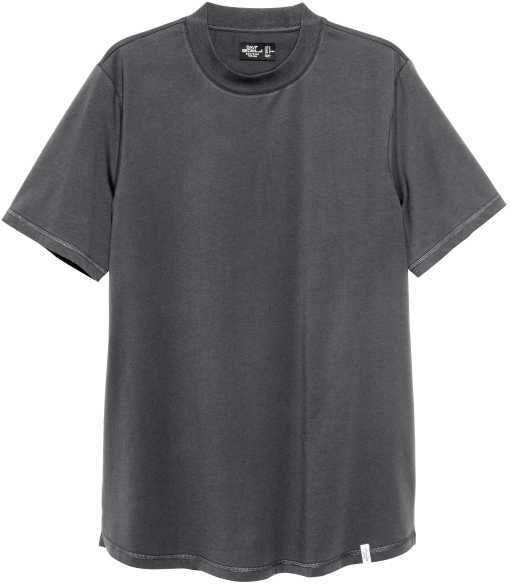 H&M - T-shirt with Ribbing - Dark gray - Men