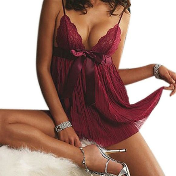 Red Cherry Babydoll Lingerie + G string Set Material: 90% #Polyester and 10% #Spandex  Set includes: one Babydoll and one G-string  Color: Dark Red Cherry  Brand #New in plastic ( no tags )  Very sexy ;) See through material  Shipping within 24 business hrs No Brand Intimates & Sleepwear Chemises & Slips