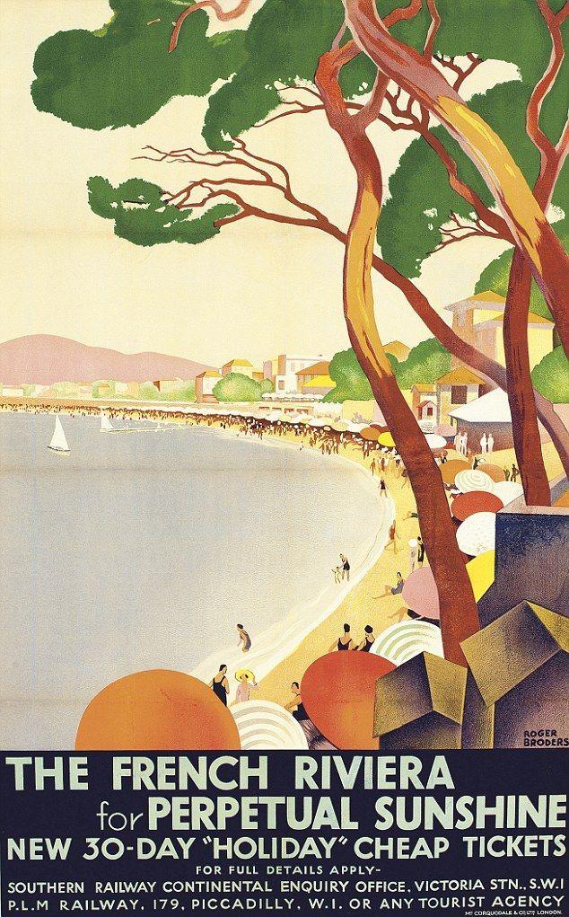 """✨ Roger Broders (1883-1953) - The French Riviera /// English Version of """"L'Été sur la Côte d'Azur"""", lithograph in colours, 1930"""