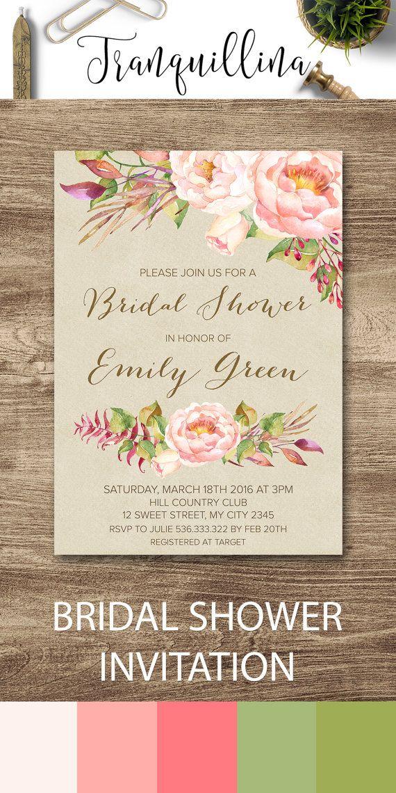 blush pink bridal shower invitation floral bridal shower invitation printable boho bridal shower invitation spring summer bridal shower