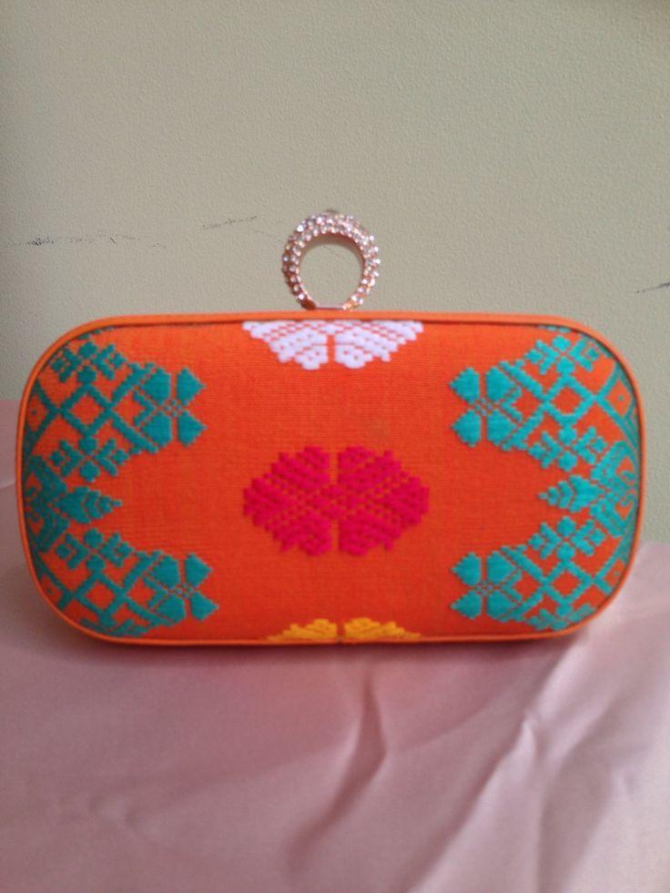 Orange Balinese handwoven clutch❤️