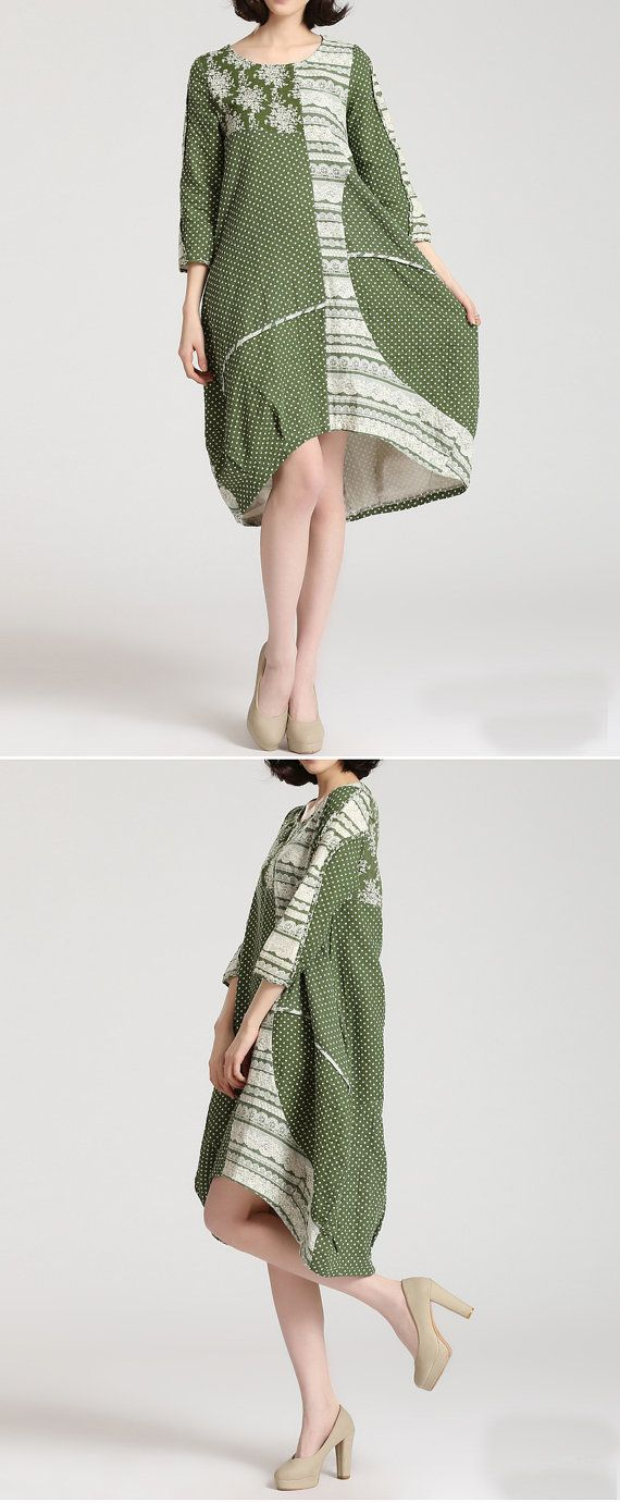 irregular spring cotton dress cotton tops/cotton by FashionOrgy, $58.20