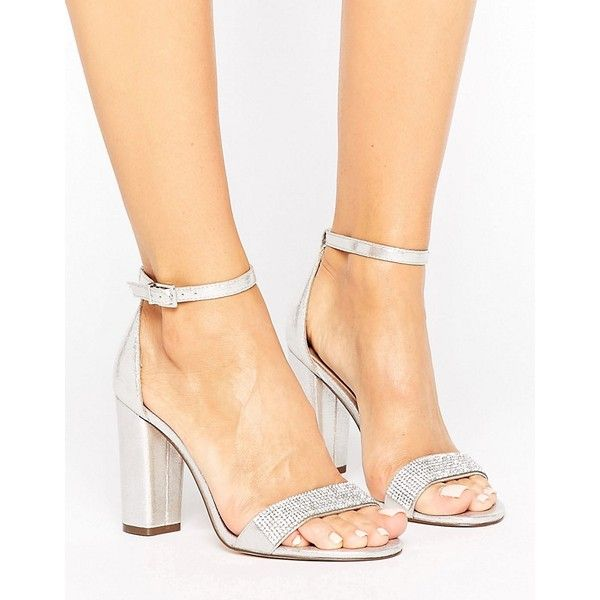 Call It Spring Mirelivia Silver Block Heel Sandals (530 GTQ) ❤ liked on Polyvore featuring shoes, sandals, silver, strap heel sandals, strappy heeled sandals, block heel sandals, silver block heel sandals and ankle strap sandals