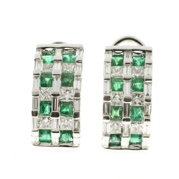 Pre-owned 18K White Gold Emerald 1.74ct 1.85ct Diamond Hoop Earrings ($6,195) ❤ liked on Polyvore featuring jewelry, earrings, hoop earrings, princess cut diamond earrings, diamond jewelry, princess cut earrings and white gold earrings
