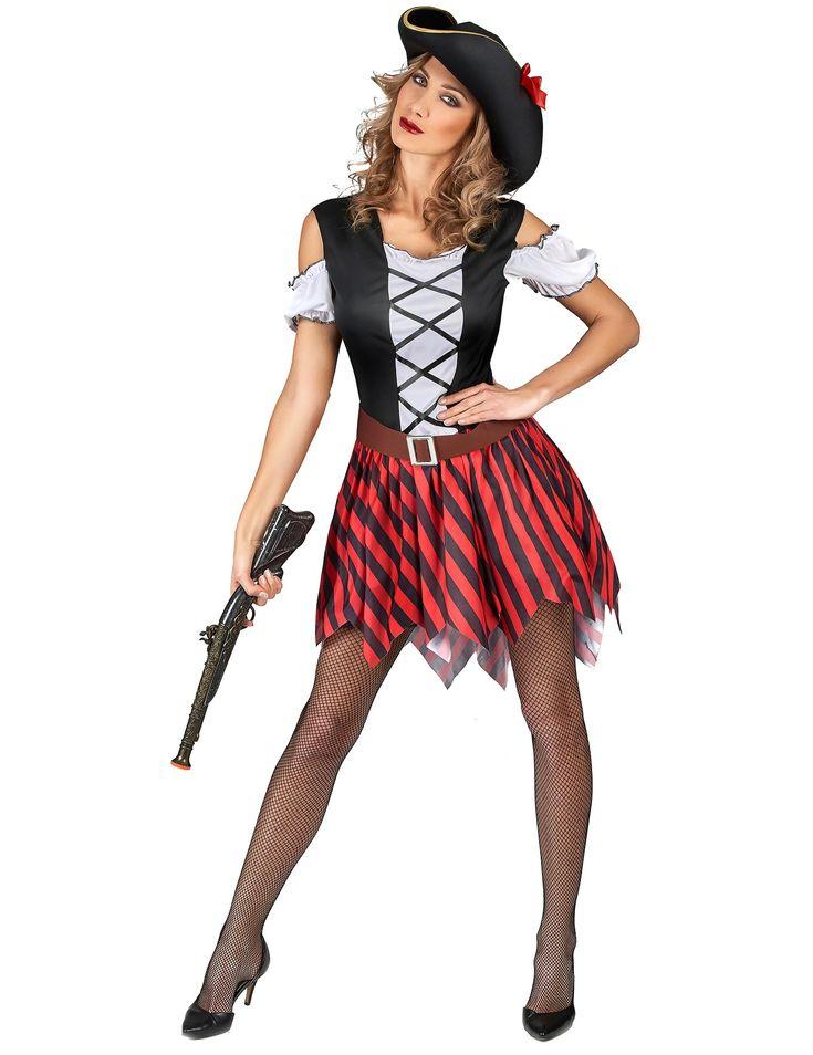 Disfraz pirata rayas rojas y negras mujer: Este disfraz de pirata para mujer incluye vestido, cinturón y sombrero (arma, medias y zapatos no incluidos).El vestido es más corto en la parte delantera y tiene dos partes.La...