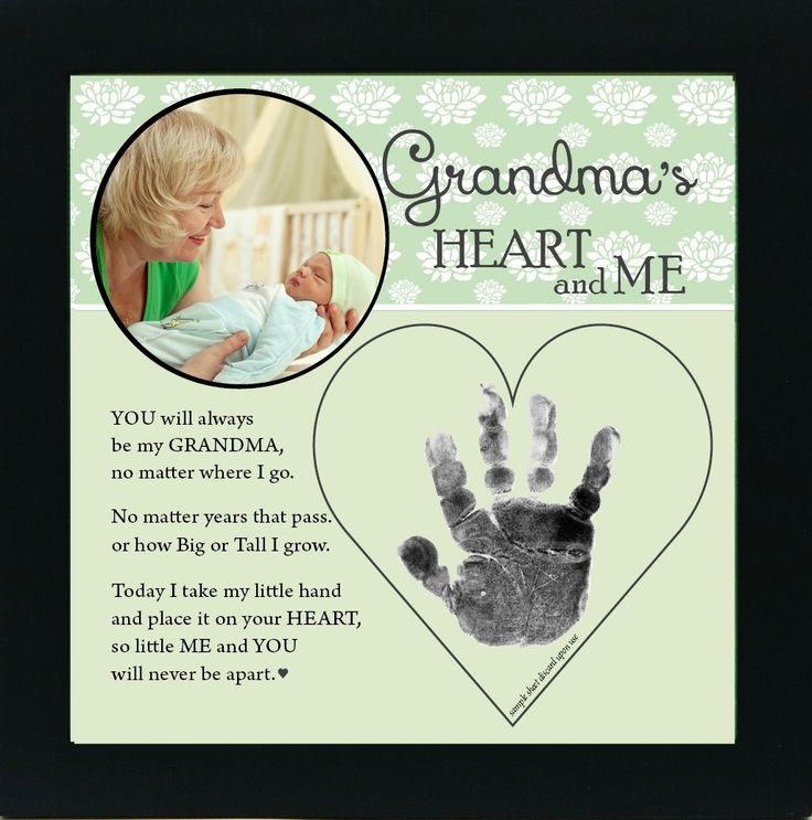 Grandma Handprint Frame: Heart and Me