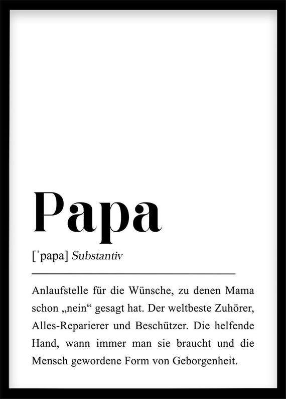 Papa Definition DIN A4/A3 Poster Geschenk für Vater, Du wirst Papa, Schwangerschaft Ankündigung, Erstes Kind, Vatertag, Geschenk für Papa