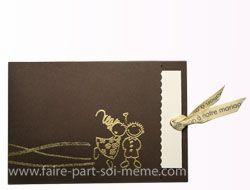 Idée de faire-part de mariage moderne - Chocolat doré idée : carte ecrin avec texte à sortir