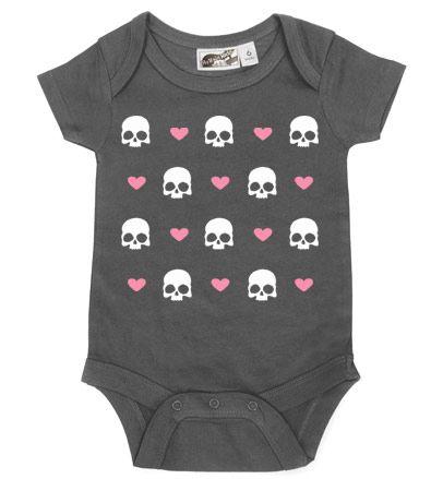 Hearts & Skulls Charcoal & Lt Pink One Piece - My Baby Rocks www.punkbabycloth... www.mybabyrocks.com #mybabyrocks #punkbabyclothes #baby