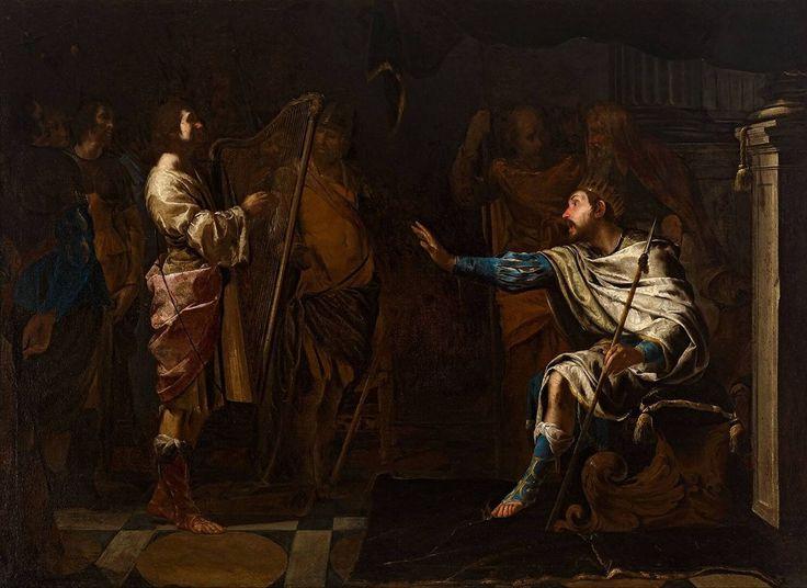David harpspelend voor Saul, Bernardo Cavallino, 1625 - 1650   Museum Boijmans Van Beuningen