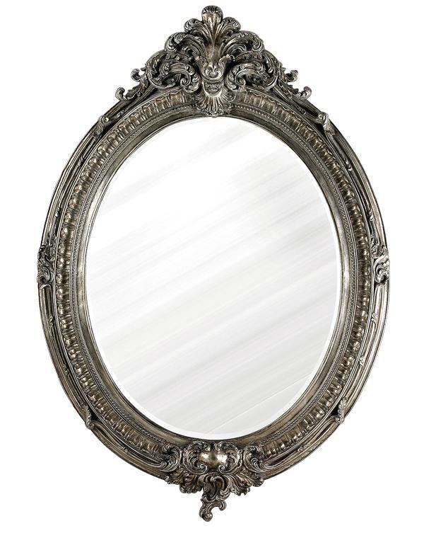 Ornate Silver Oval Mirror