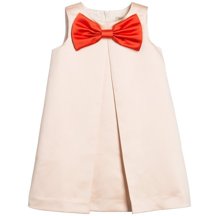 Hucklebones London Pale Pink Shift Dress with Giant Red Bow at Childrensalon.com