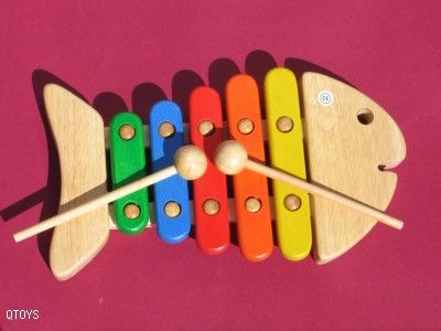 Q-Toys Fish Xylophone - A favourite among child this fish shaped xylophone is durable, brightly coloured and gives off lovely musical tones.  A must have in a musical instrument collection.  Made from non-toxic, child-friendly materials with beeswax finish.  Ages 2+