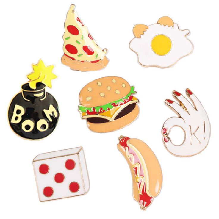 Pizza Hamburg Dice Hand Pump Hot Dog Egg Brooch Lovely Cartoon Food Jacket Insignia brooch Gift For Women Men Jewelry A93-A99 #Affiliate