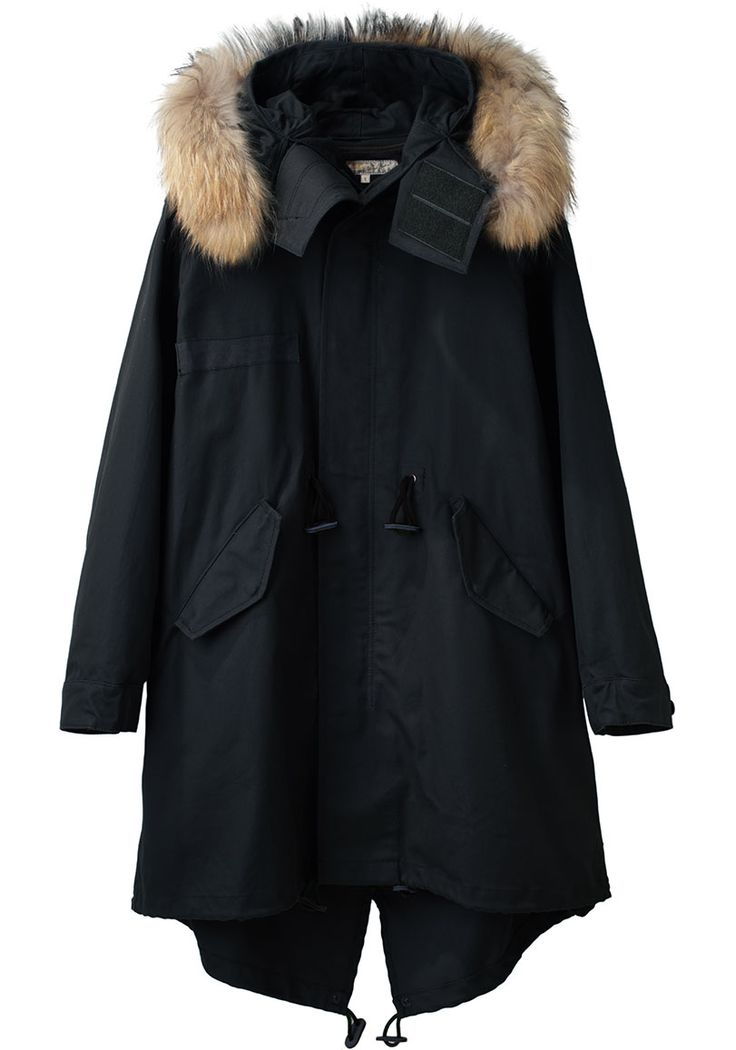Fishtail Parka by United Bamboo. Slightly oversized, hooded cotton parka with removable fur trim, drawstring waist, & fishtail he