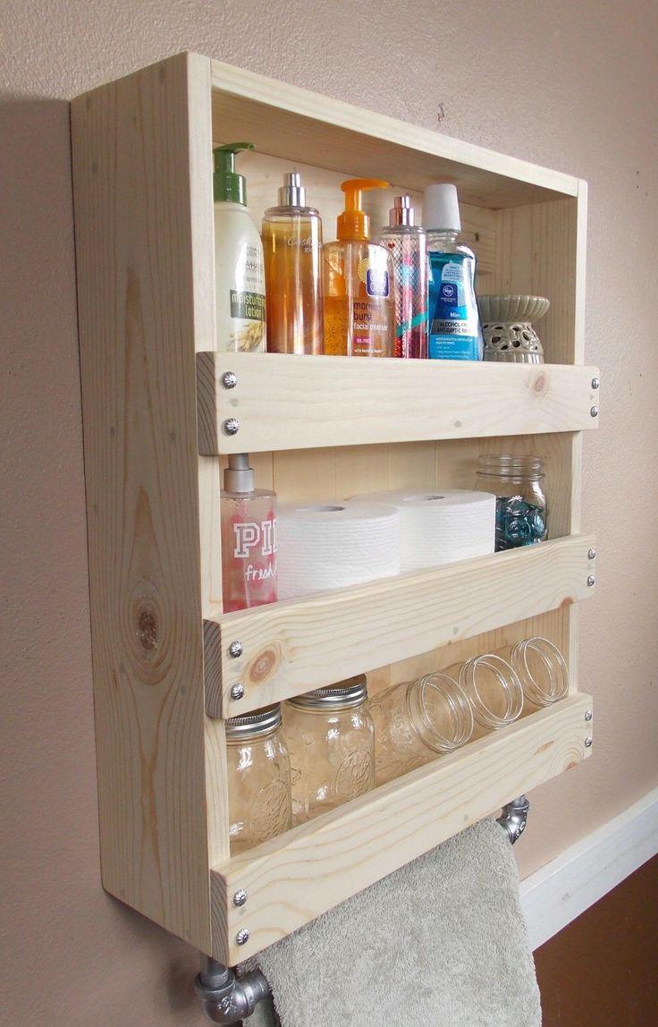 Photo Album For Website Rustic Bathroom organizer Rustic Bathroom D cor Industrial Rustic Industrial wooden shelves