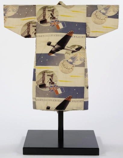 Boy's Kimono, 1937.  Unusually, this kimono commemorates an actual event, the first aeroplane flight from Japan to Europe.