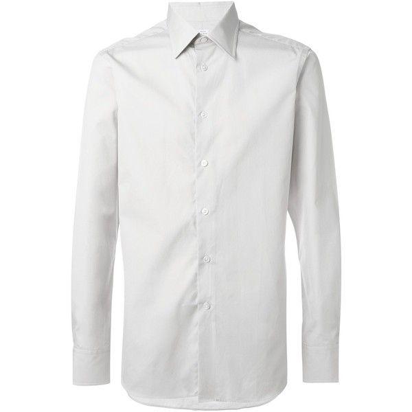 E. Tautz cutaway collar shirt (355 BRL) ❤ liked on Polyvore featuring men's fashion, men's clothing, men's shirts, mens cutaway collar dress shirts, mens grey shirt and mens gray dress shirt