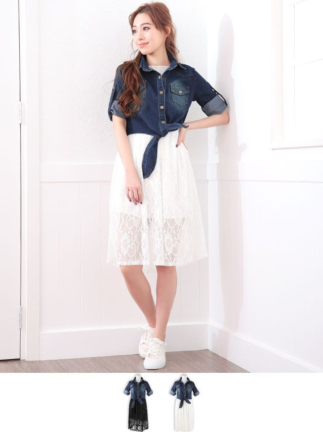 2e48d5fdf2  39.00 - denim jacket x lace onepiece set black white - summer spring