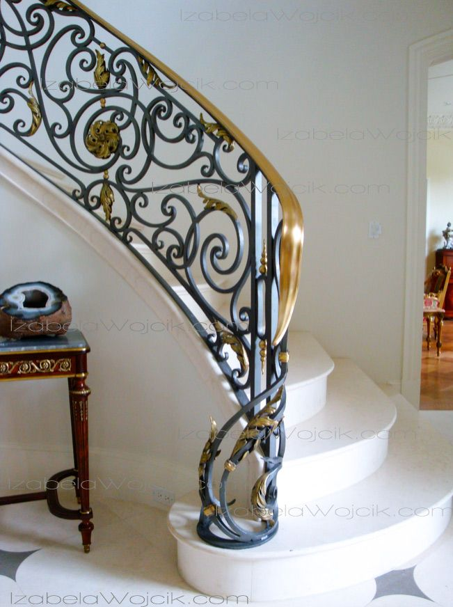 fun wrought iron staircase.  The staircase was very graceful with shallow stone steps and a wrought iron balustrade topped by gleaming 77 best Wrought Iron Custom Lighting Sculpture more images on
