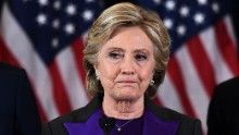 Hillary Clinton lost the election but is winning the popular vote.  US Democratic presidential candidate Hillary Clinton makes a concession speech after being defeated by Republican president-elect Donald Trump in New York on November 9, 2016.