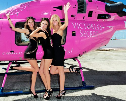 . Victoria's Secret #Angels Alessandra D'ambrosio, Adriana Lima and Erin Heatherton. PINK helicopter