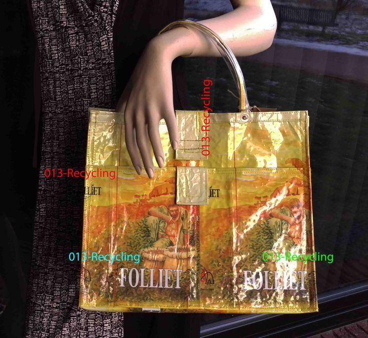 Handbag/Handtas recycled Coffeebags/Koffiezakken_02_type Folliet_yellow with images/geel met print door Petershandmades op Etsy