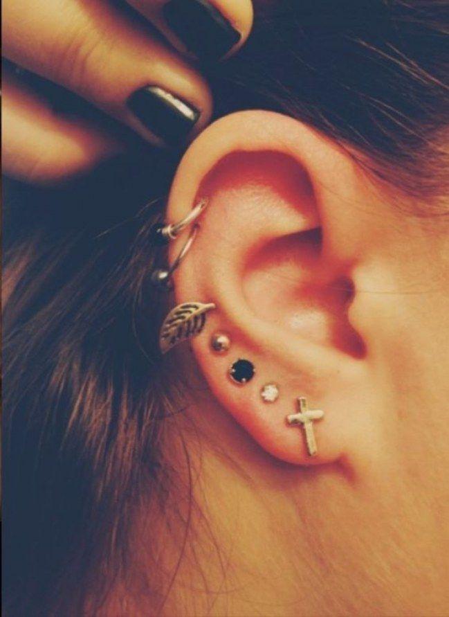Piercing na orelha! Combinações de brincos e piercings