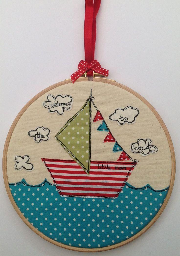 www.sallysews.co.uk Boys nursery embroidery hoop artwork